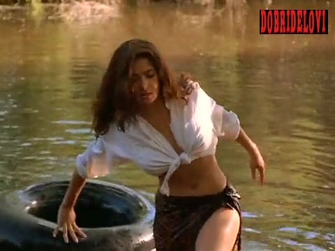 Salma Hayek sexy white blouse in the river scene from Fools Rush