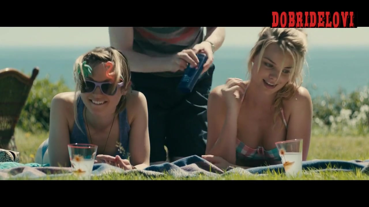 Margot Robbie and Lydia Wilson cleavage scene from About Time