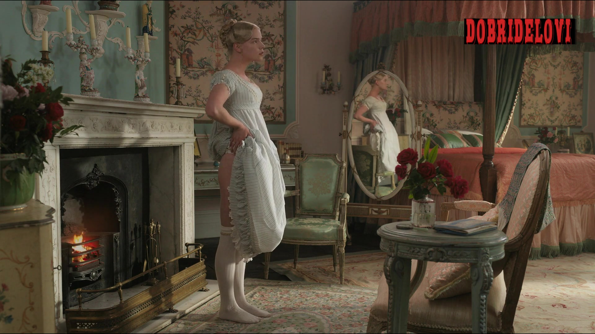 Anya Taylor-Joy pulling dress up scene from Emma. video image