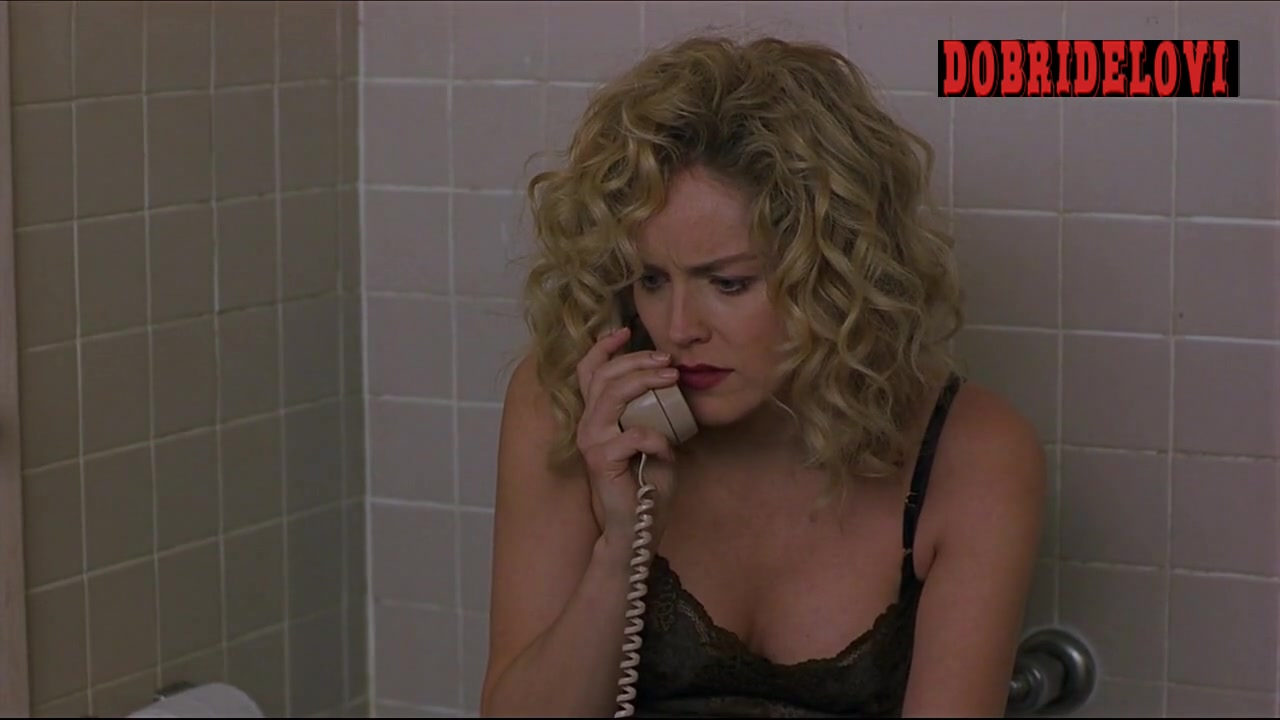 Sharon Stone talking on phone in underwear scene from Gloria