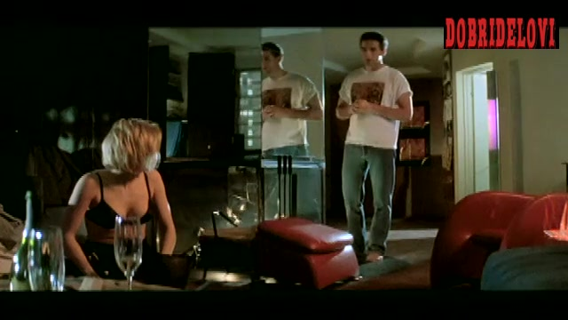 Sharon Stone cleavage on all fours scene from Sliver
