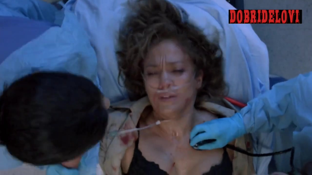 Jennifer Lopez laying in hospital bed scene from Shades of Blue