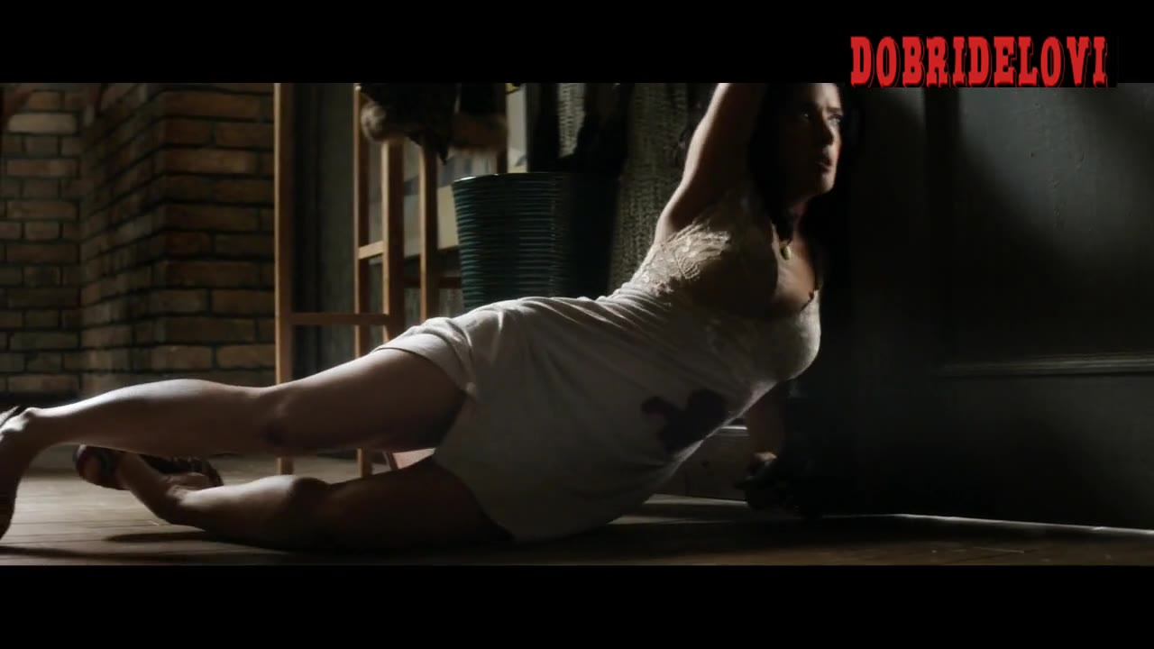 Salma Hayek shooting man with bloody dress scene from Everly