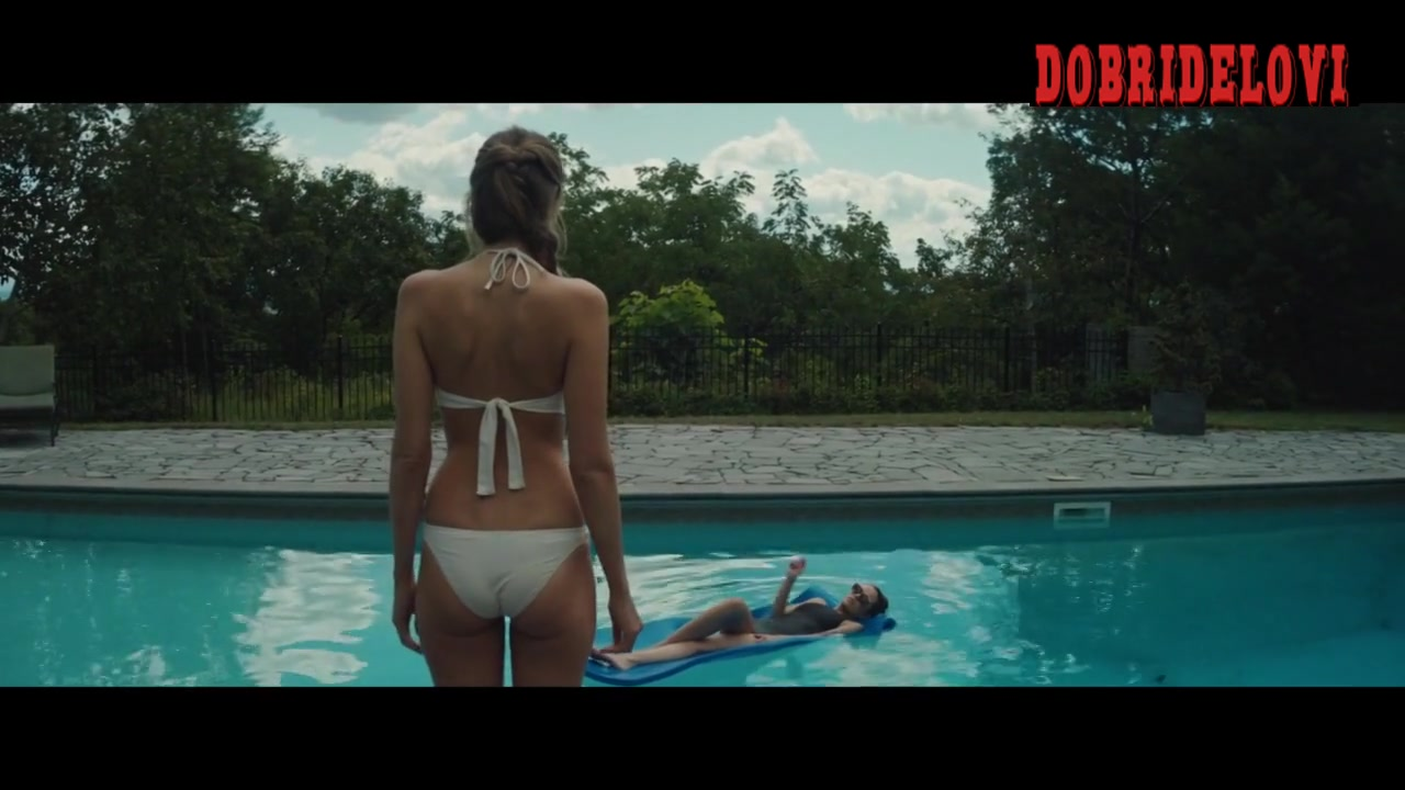 Riley Keough and Abbey Lee sexy bikinis in pool scene from Welcome the Stranger