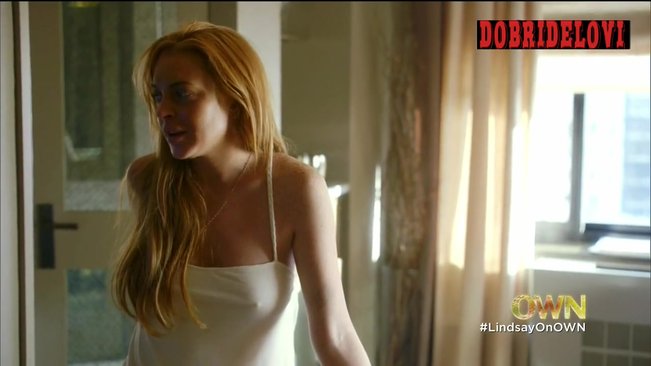 Lindsay Lohan visible nipples through camisole scene from Lindsay