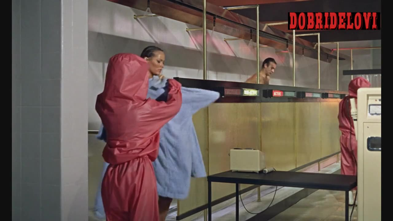 Ursula Andress getting cleaning in laboratory scene from Dr. No