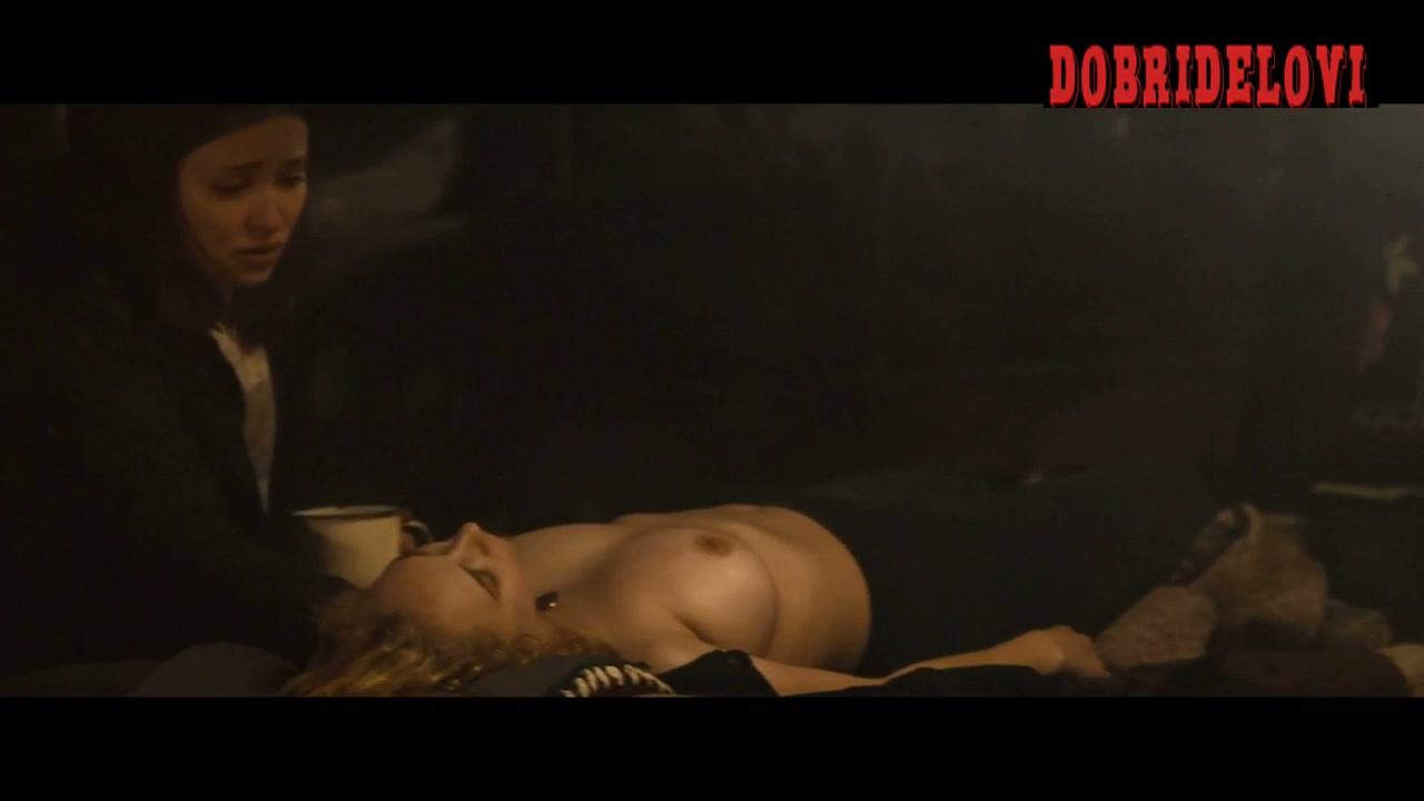 Juno Temple topless aying on table scene from Magic Magic