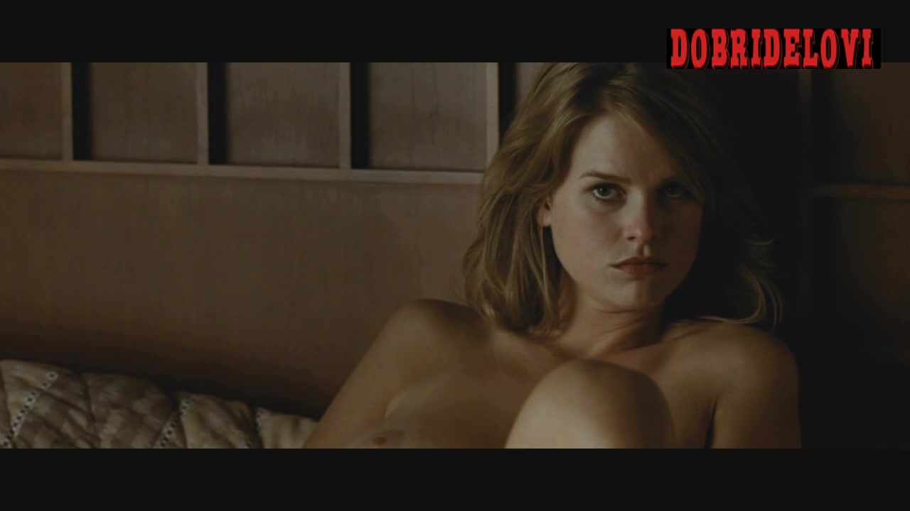 Alice Eve nude laying in bed scene from Crossing Over