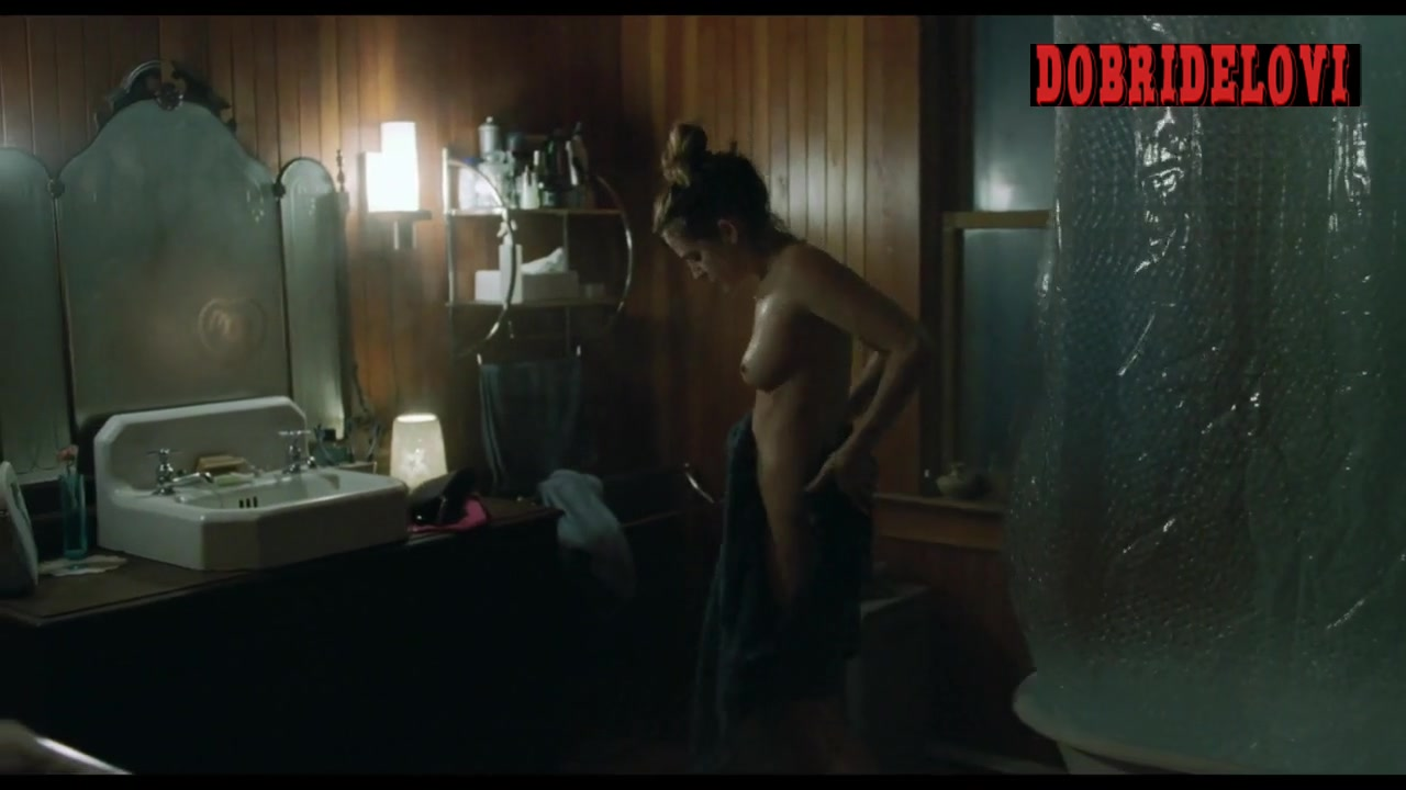 Riley Keough gets out of shower scene from The Lodge