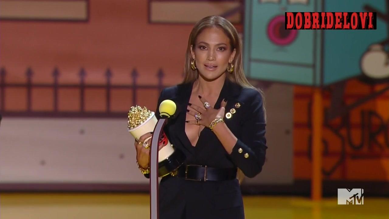 Jennifer Lopez being awarded at the MTV Movie Awards