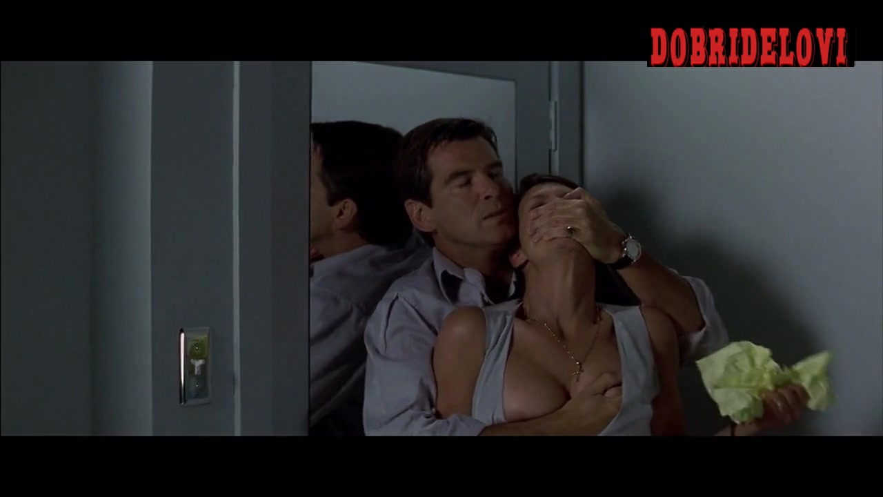 Jamie Lee Curtis forcefully gropped by Pierce Brosnan scene from The Tailor of Panama