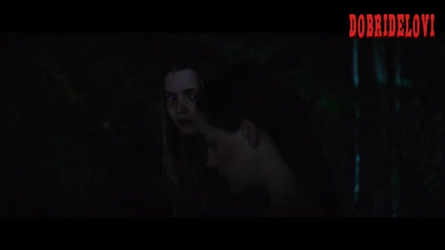 Riley Keough, Abbey Lee yellow spotlight scene from Welcome the Stranger
