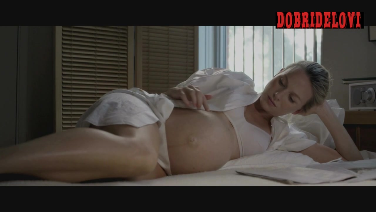 Naomi Watts pregnant in lingerie laying in bed scene from Mother and Child