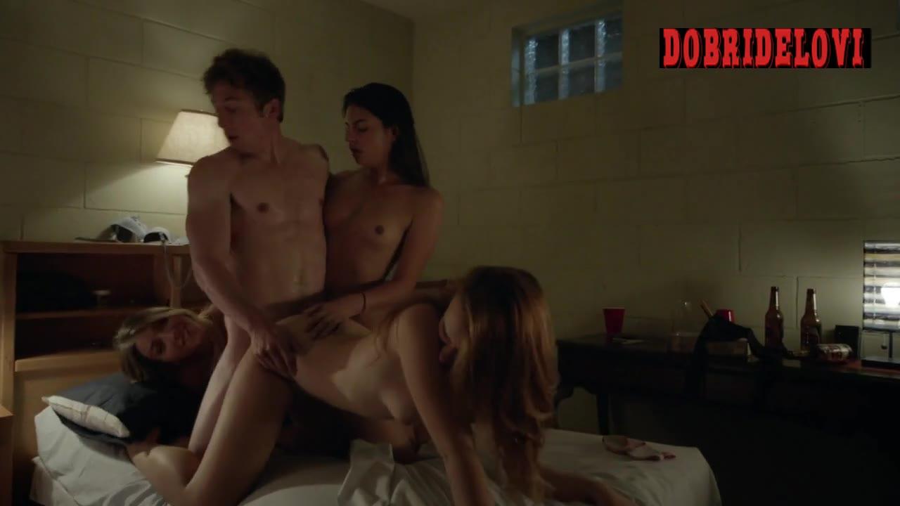Jocelin Albor and Maria Breese foursome scene from Shameless