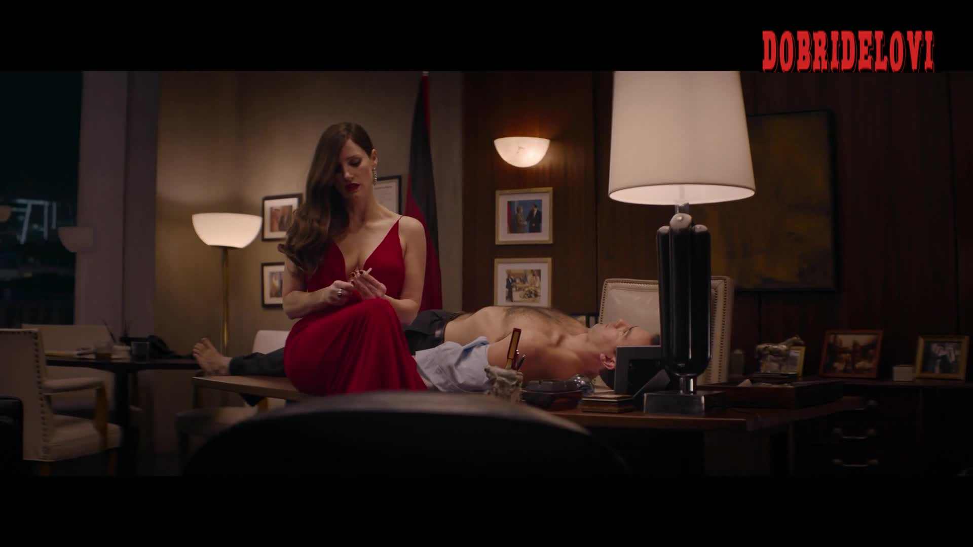 Watch Jessica Chastain red dress cleavage scene from Ava video