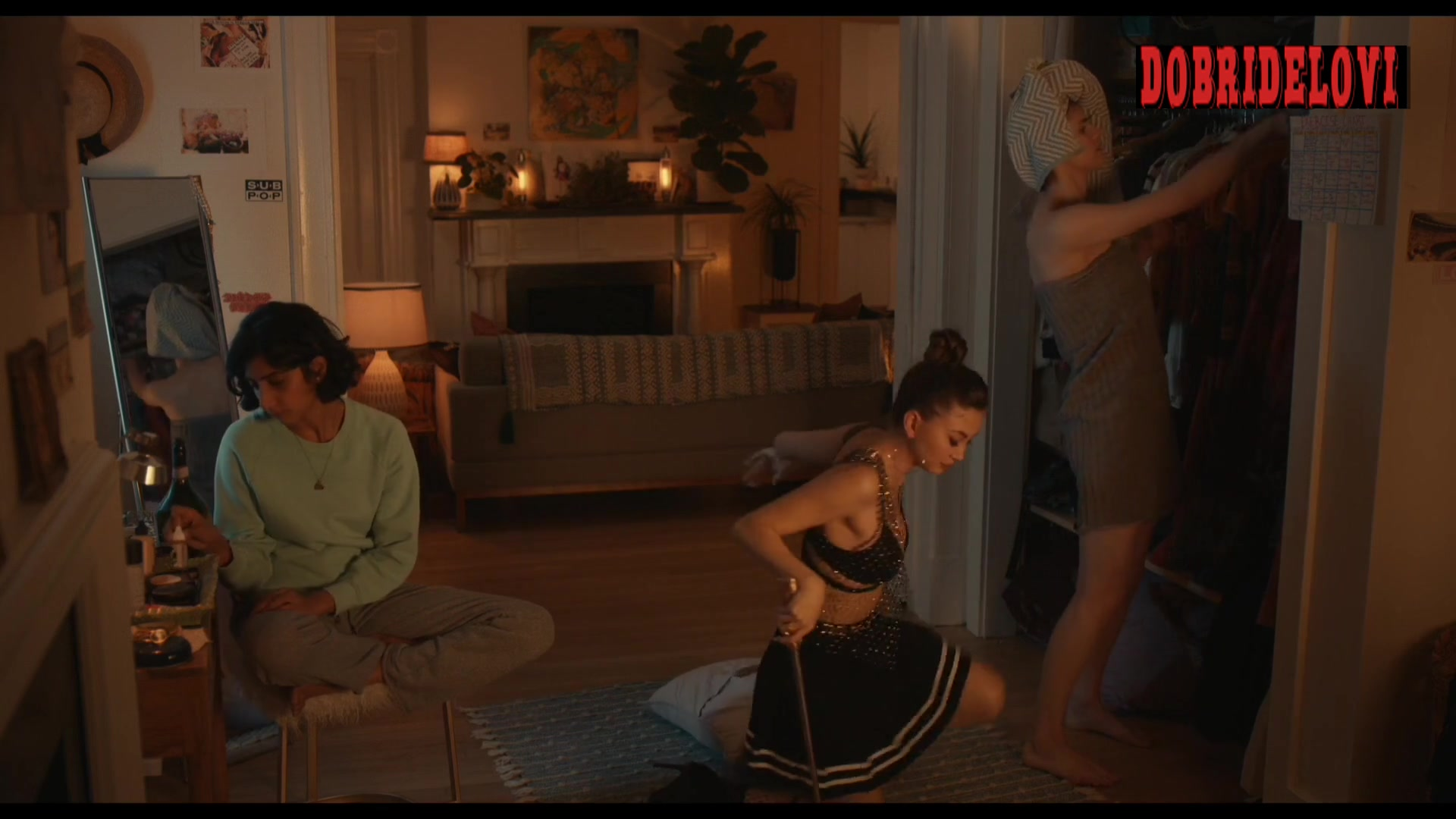 Kimiko Glenn see through top and Alexandra Daddario wrapped towel scene from Can You Keep a Secret?