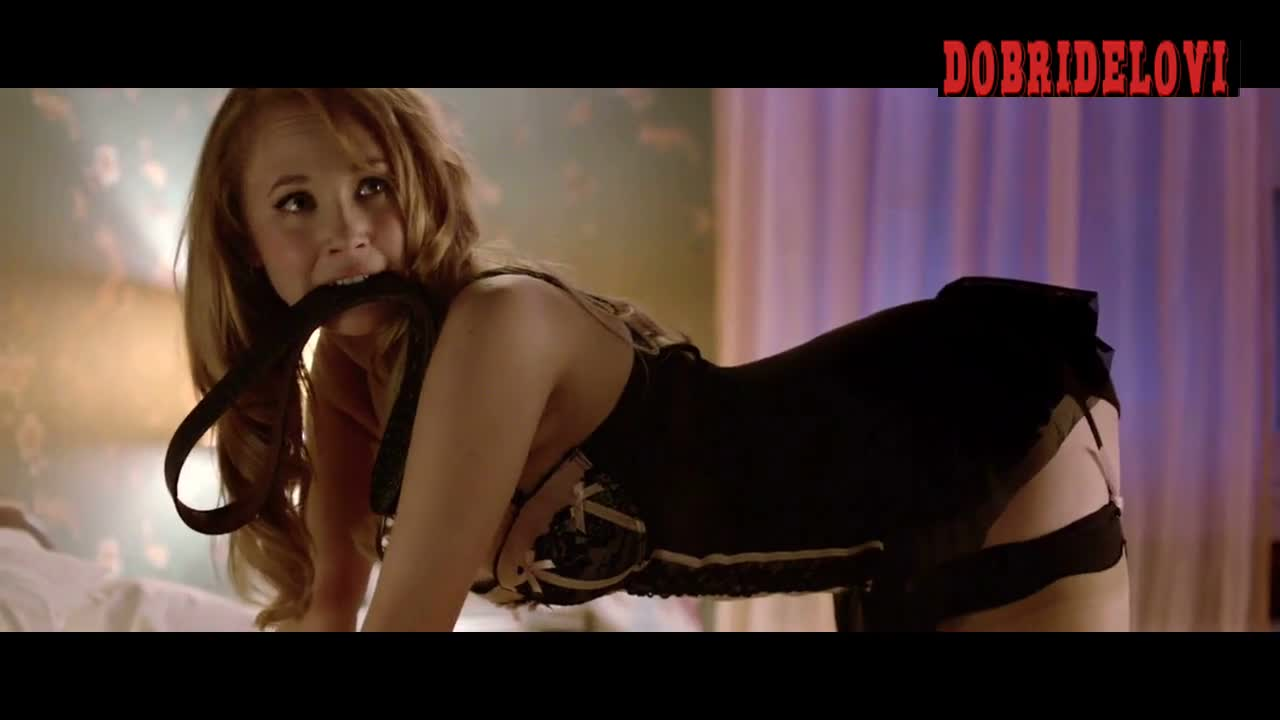 Juno Temple ready for a spanking in bed scene from The Brass Teapot