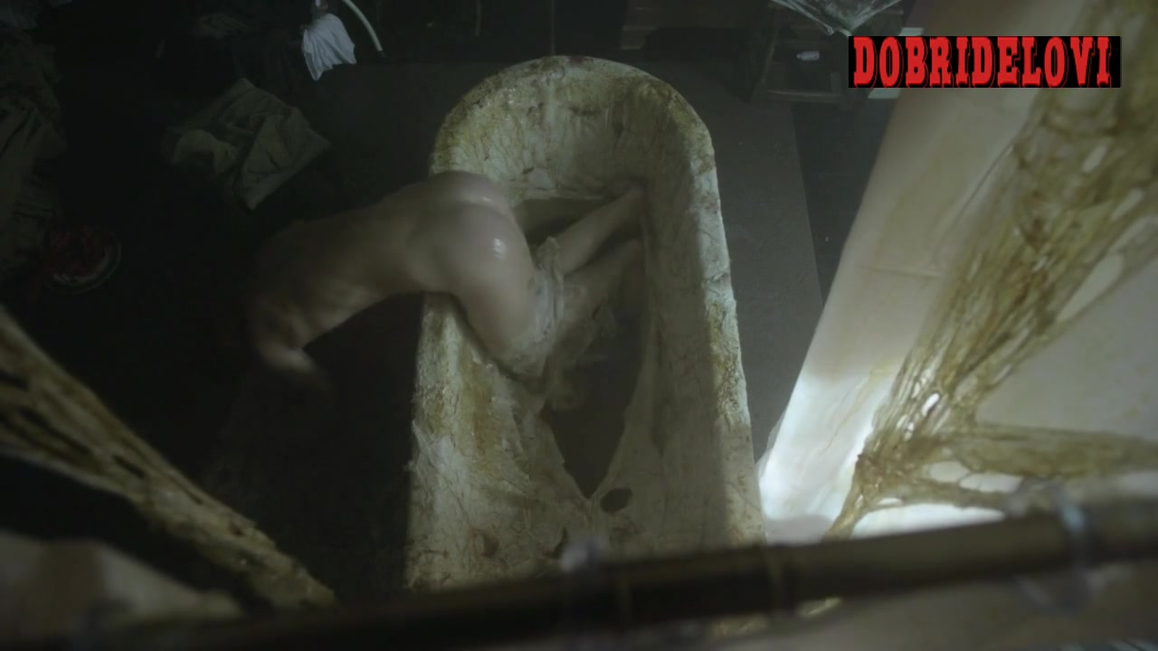 Natalie Dormer escaping alien mucous in bathtub scene from The Fades
