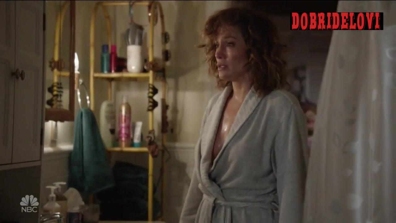 Jennifer Lopez wearing an open robe scene from Shades of Blue
