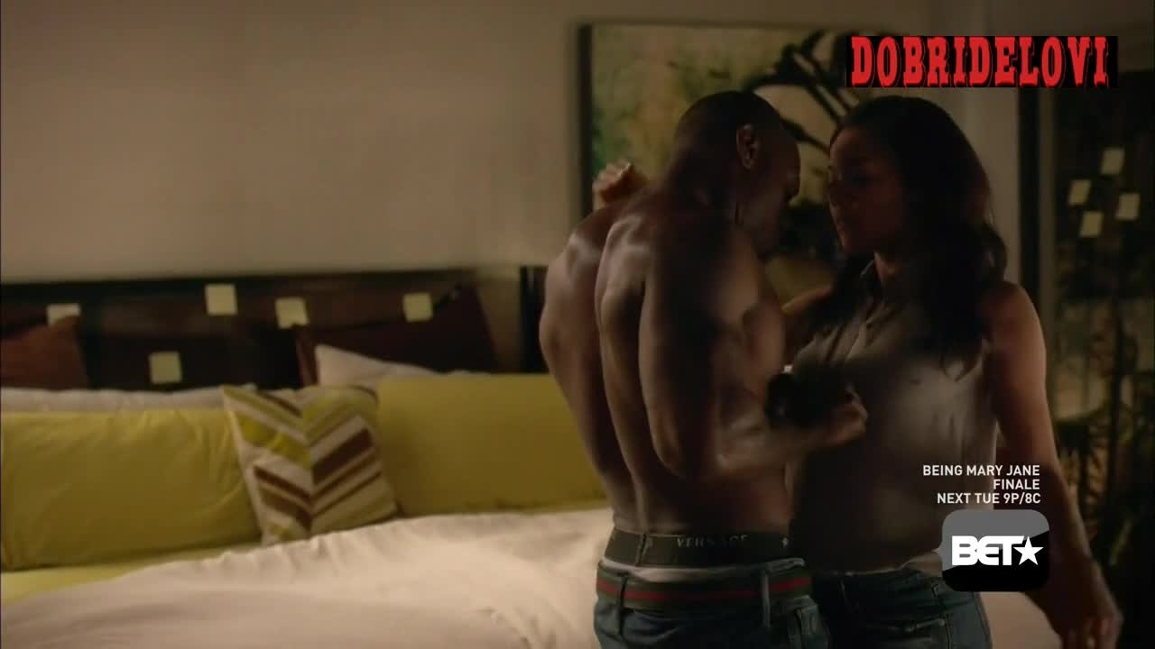 Gabrielle Union black bra and panties scene from Being Mary Jane