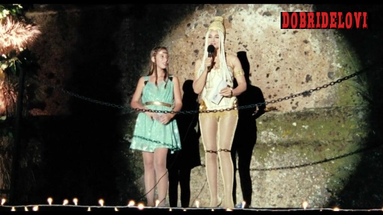 Monica Bellucci white lingerie doing announcement scene from Les Merveilles