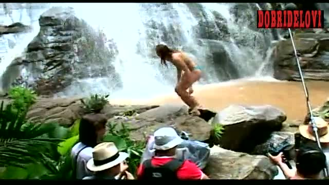 Jessica Biel behind the scenes waterfall scene from Stealth