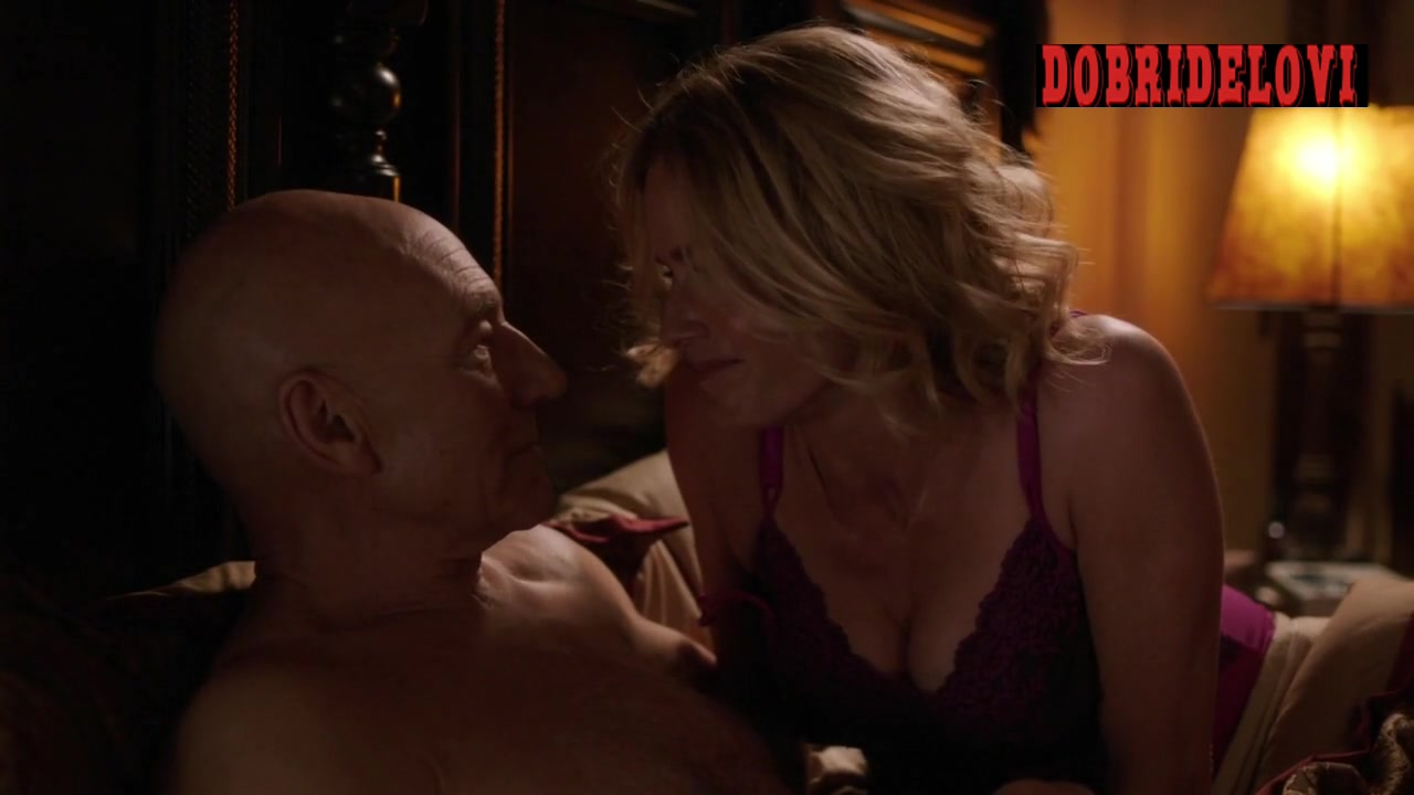 Elisabeth Shue in bed with Patrick Stewart scene from Blunt Talk