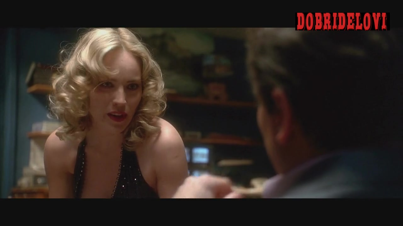 Sharon Stone sexy black dress chatting with Joe Pesci scene from Casino