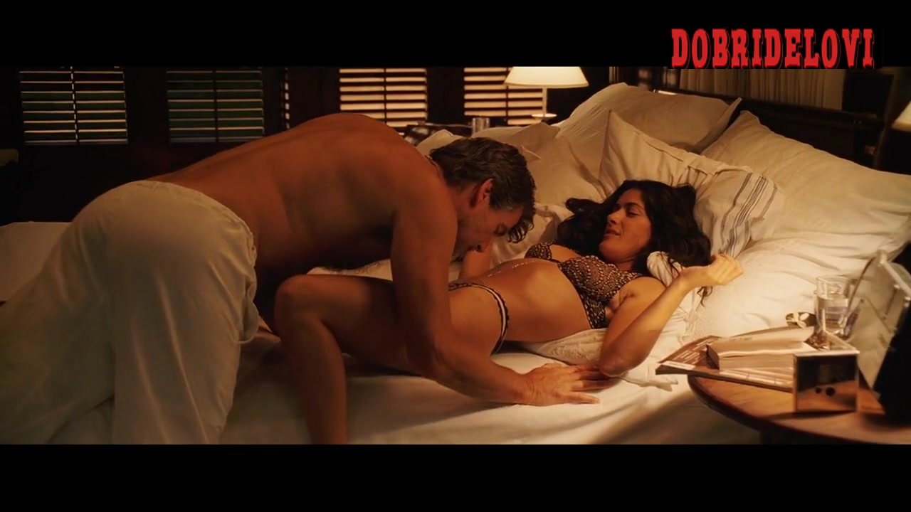 Salma Hayek undresses and lays in bed for Pierce Brosnan scene from After the Sunset