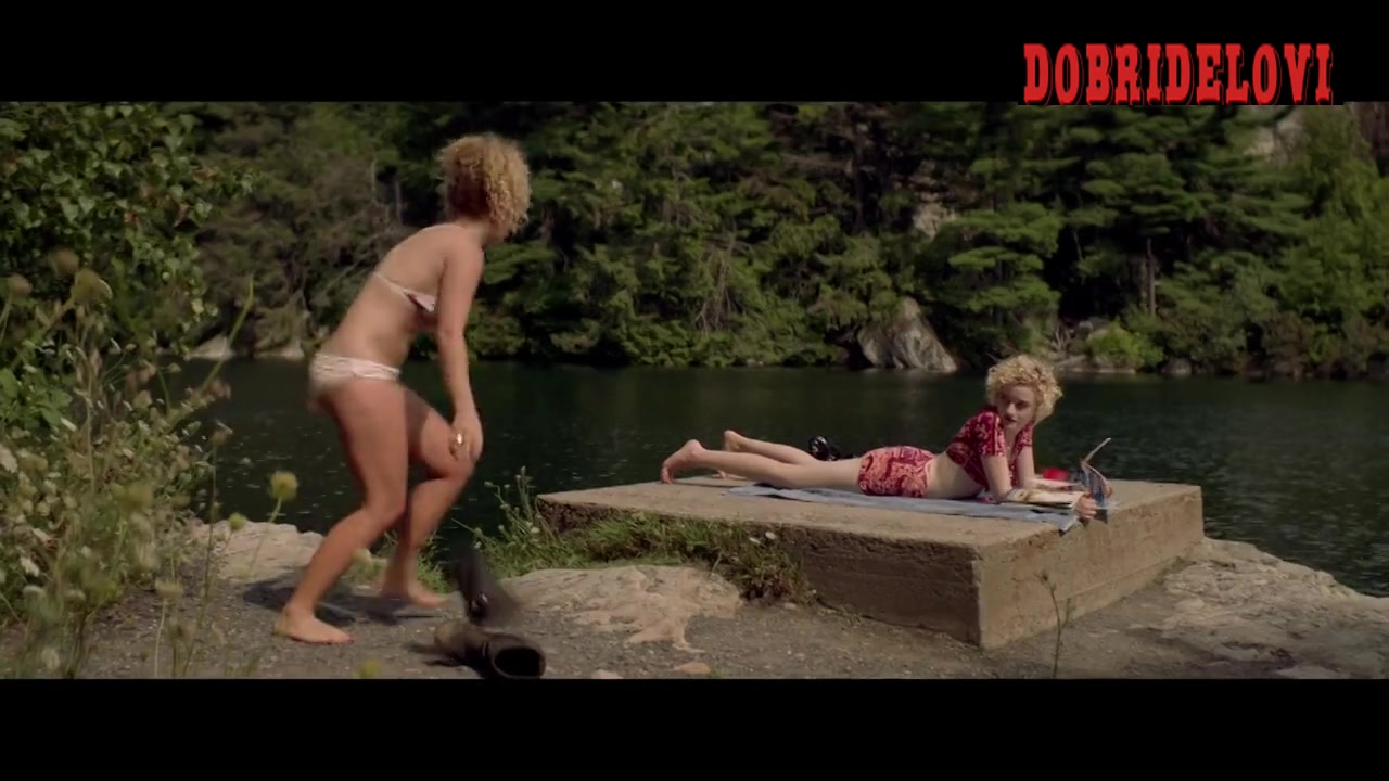 Juno Temple taking off clothes outdoors scene from One Percent More Humid