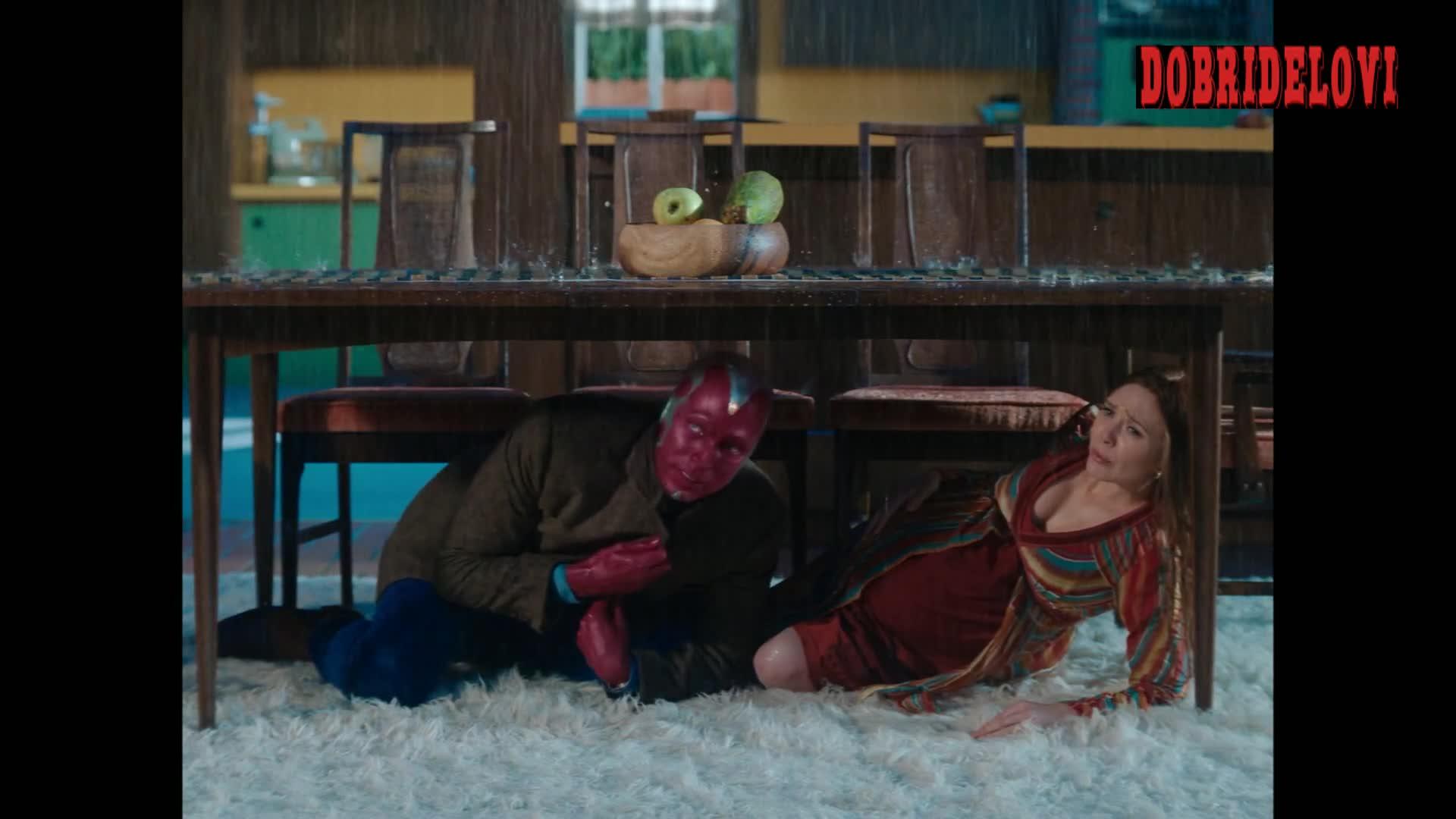 Elizabeth Olsen bent over scene from WandaVision