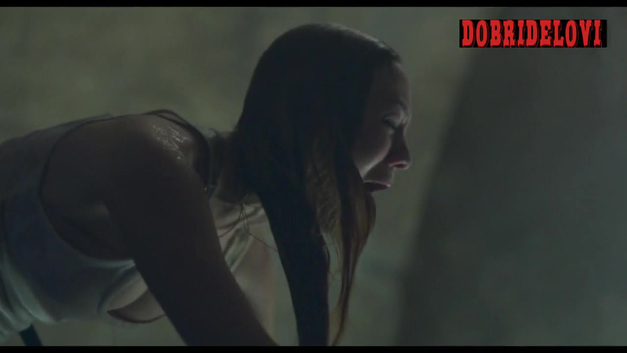 Louisa Krause wet tank top scene from The Abandoned