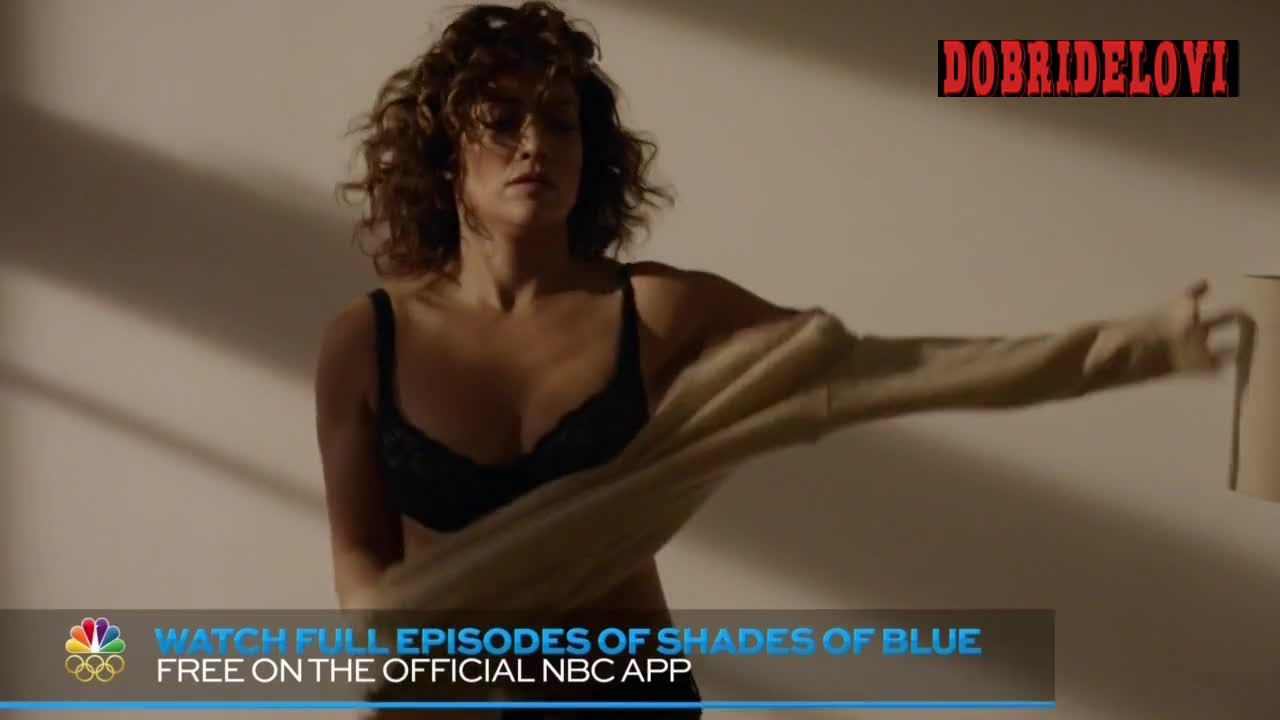Jennifer Lopez putting on shirt after sex scene from Shades of Blue