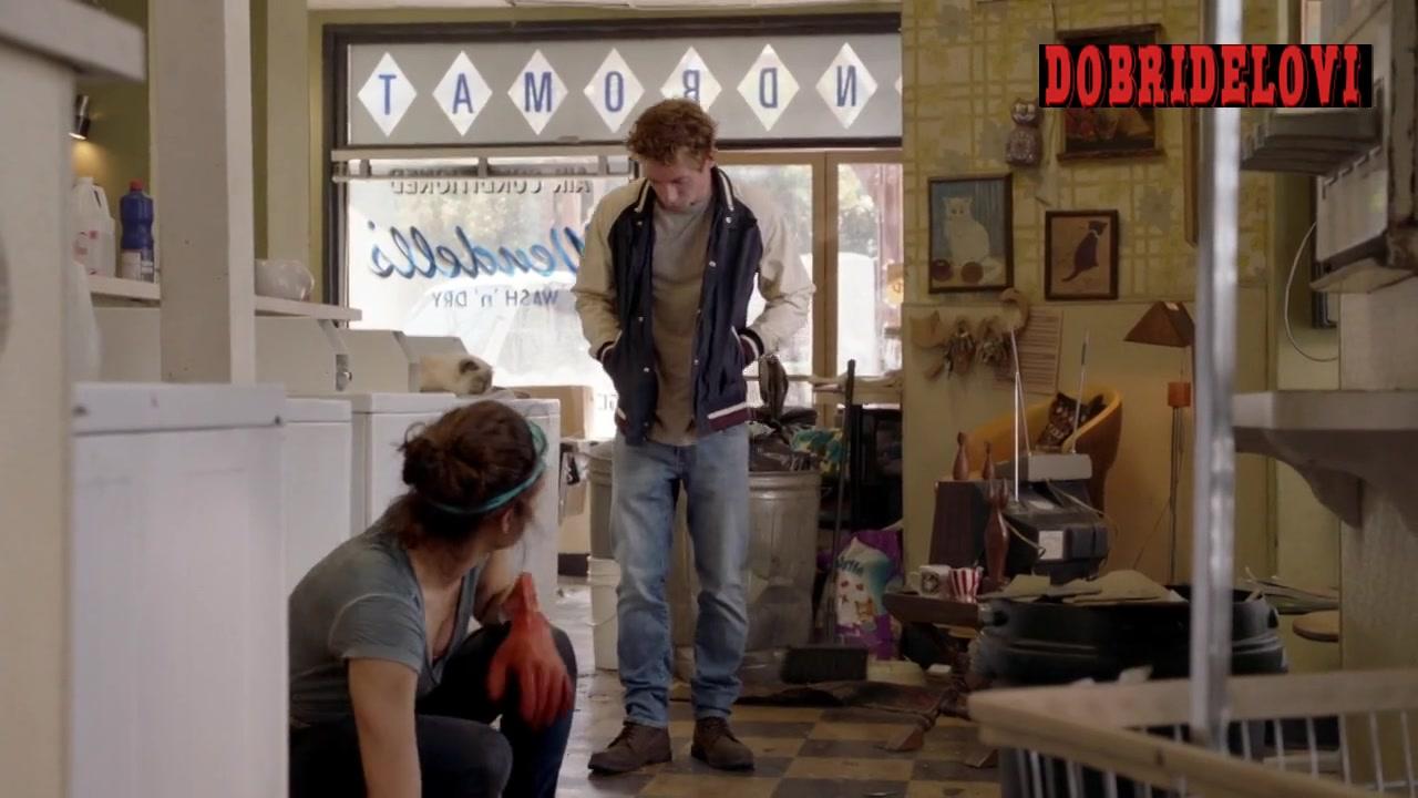 Emmy Rossum cleaning laundromat scene from Shameless