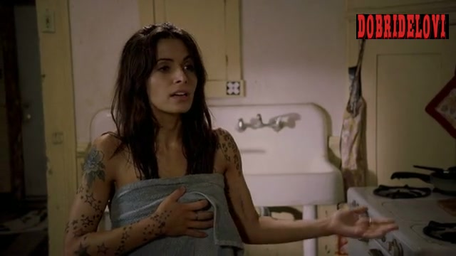 Sarah Shahi wrapped in towel scene from Bullet to the Head