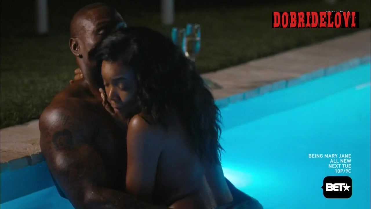 Gabrielle Union sexy pool scene from Being Mary Jane