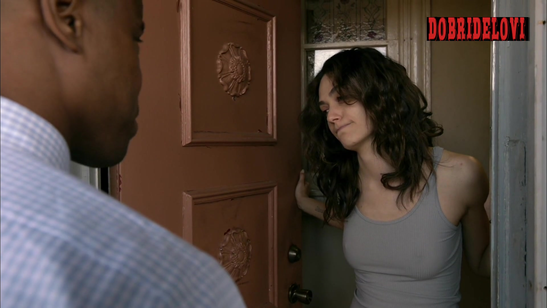 Emmy Rossum answering door with hard nipples scene from Shameless