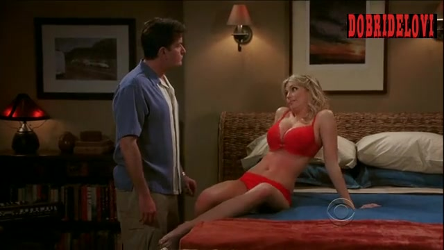 Diora Baird red lingerie bouncing boobs and fainting scene from Two and Half Man