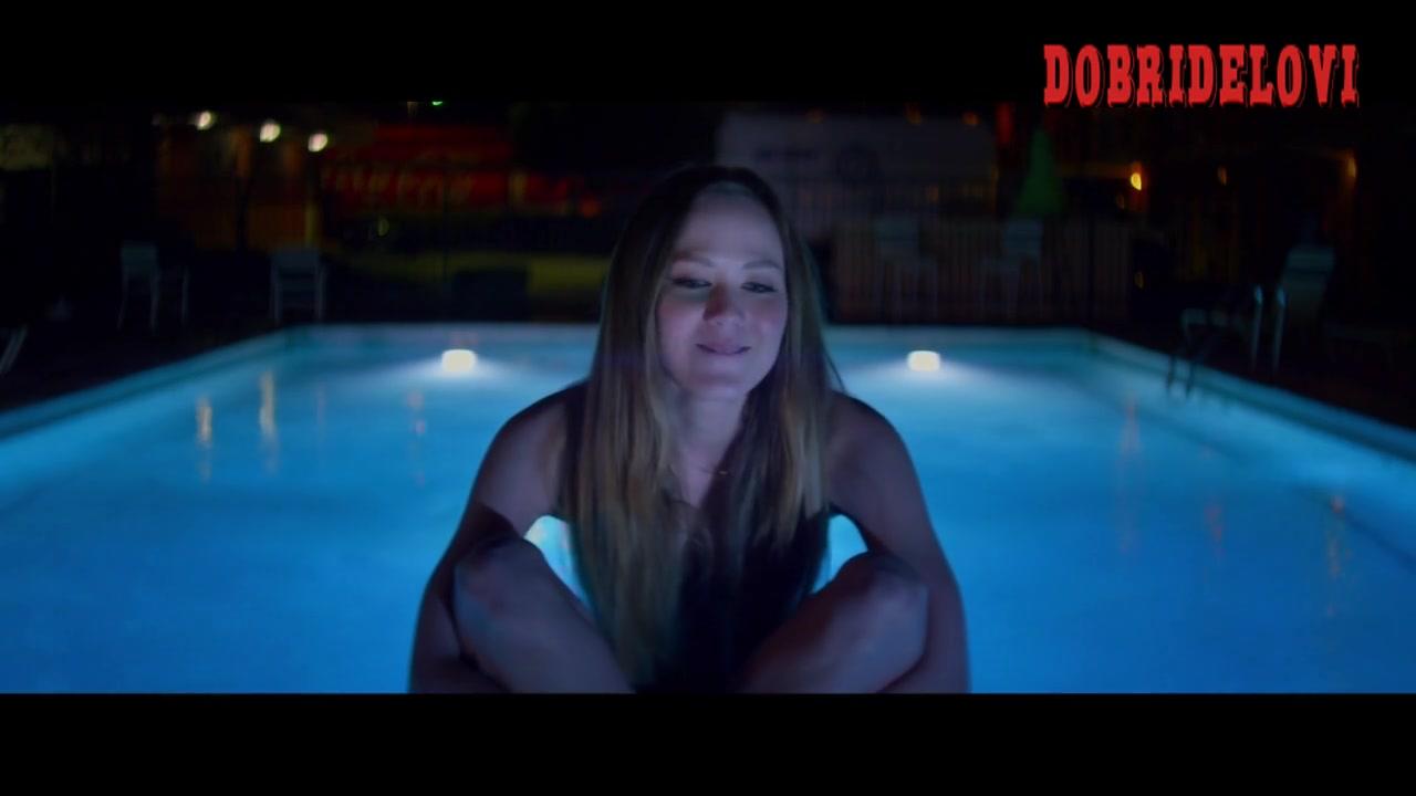 Louisa Krause wearing bikini poolside scene from The Phenom