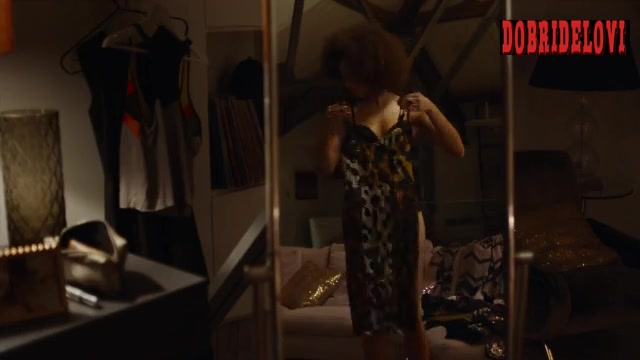Elarica Johnson changing clothes scene from Strike