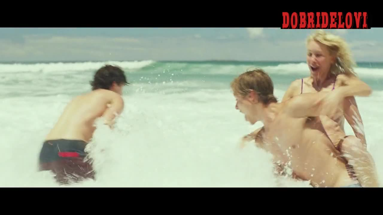 Naomi Watts and Robin Wright playful beach scene from Adore