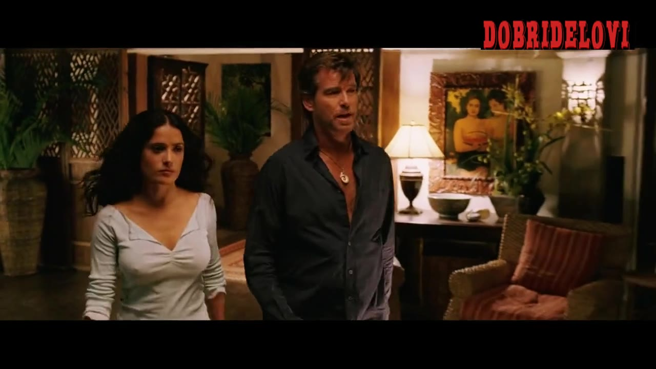 Salma Hayek packing suitcase with nice pokies scene from After the Sunset