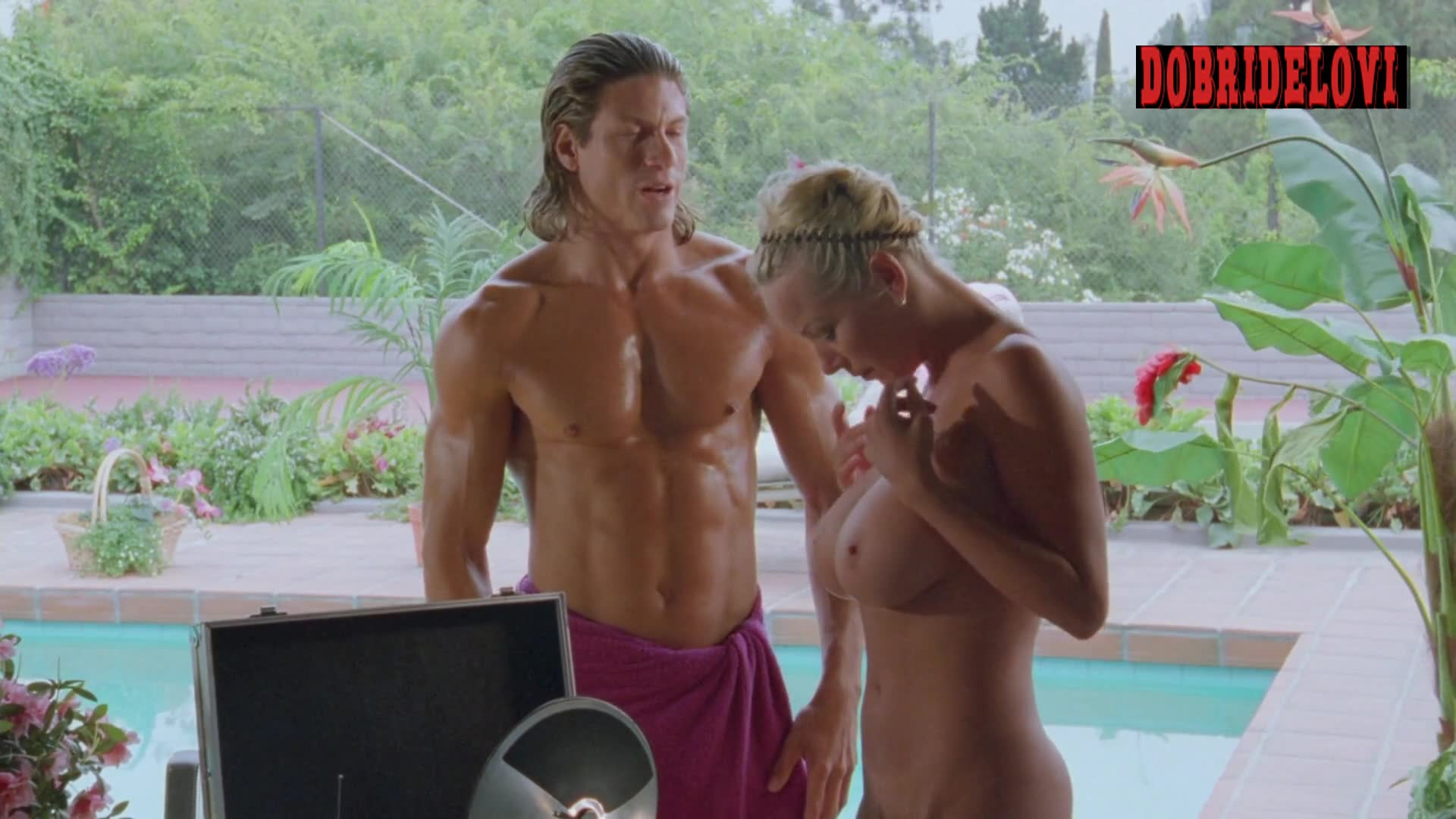 Julie K. Smith undressing scene from L.E.T.H.A.L. Ladies: Return to Savage Beach