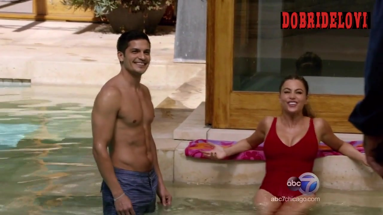 Sofia Vergara red one piece in swimming pool scene from Modern Family