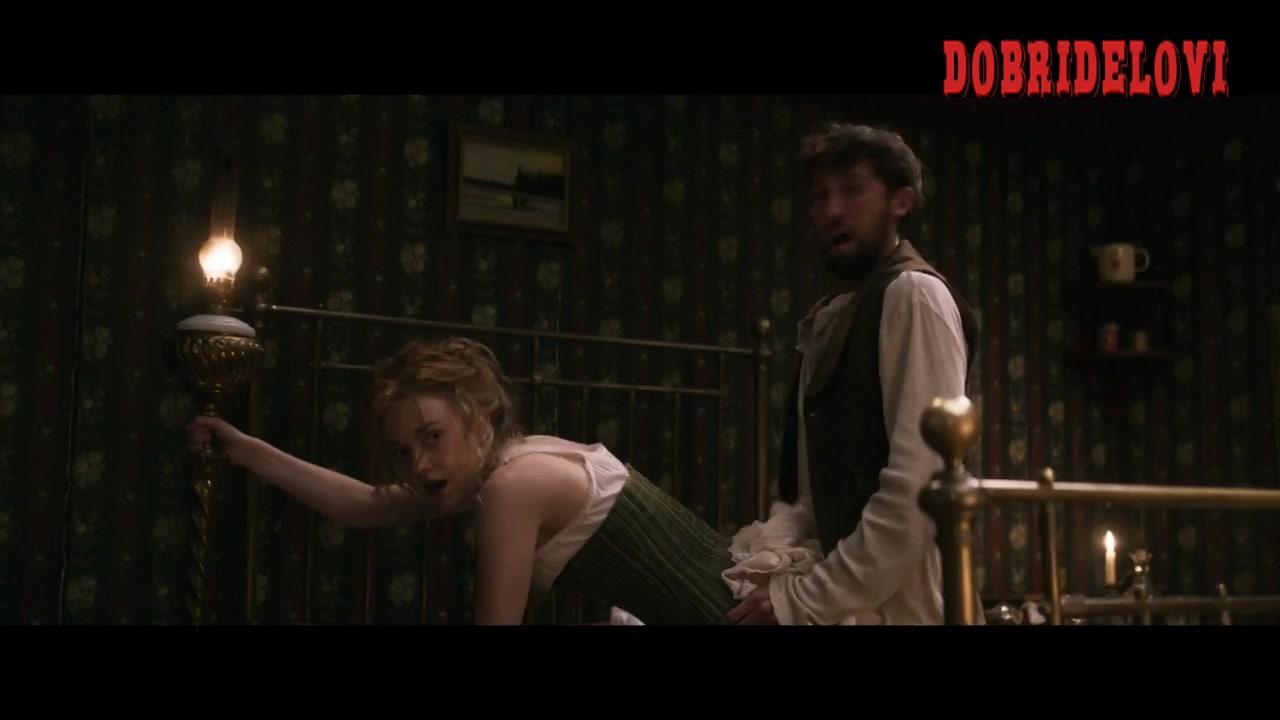 Carla Juri and Dakota Fanning butt flap scene from Brimstone