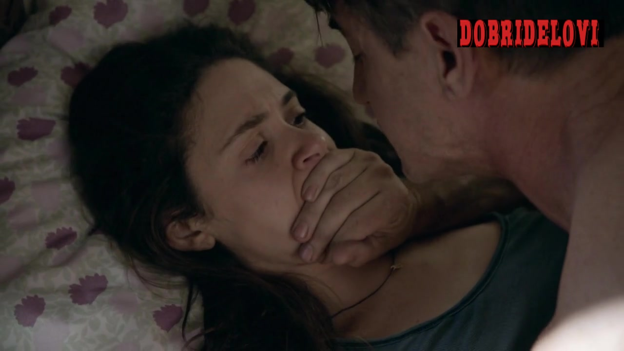 Emmy Rossum sex with Dermot Mulroney covering her mouth panties scene from Shameless