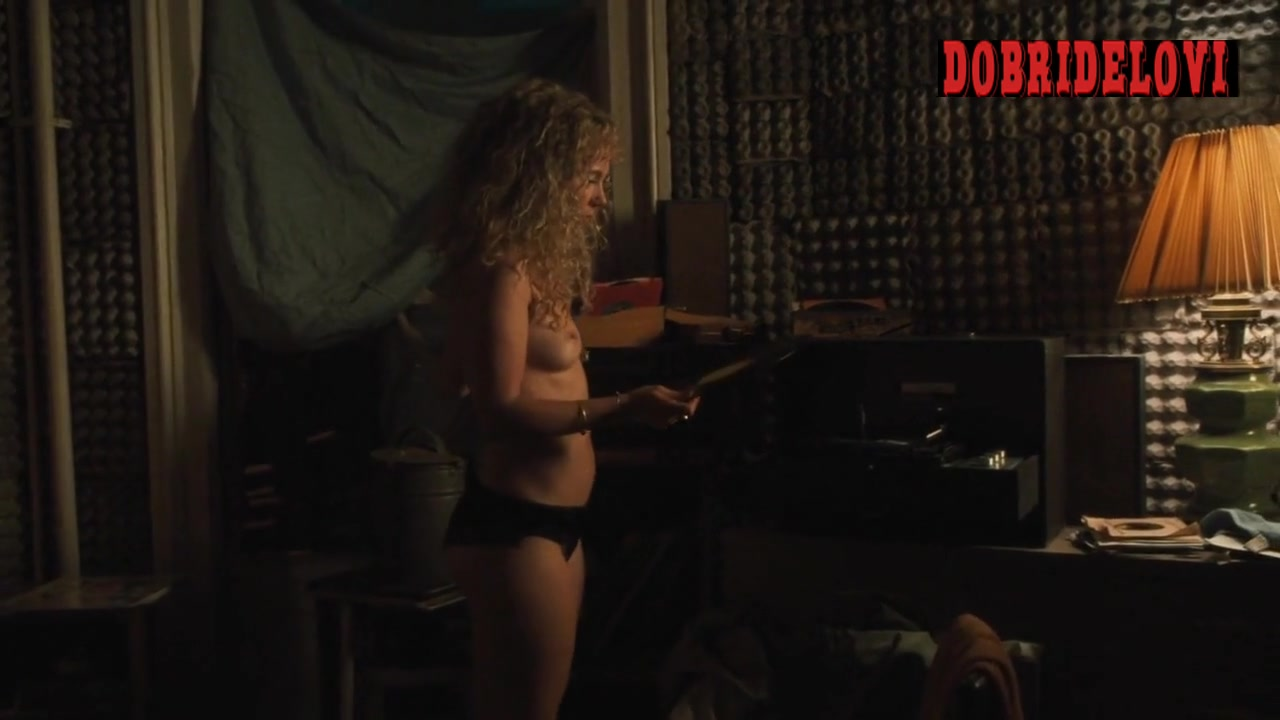 Juno Temple gets out of bed to start the record player scene from Vinyl