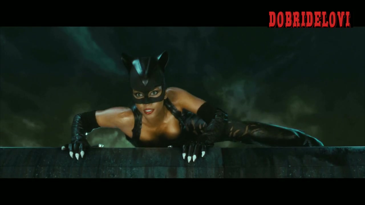 Halle Berry black leather pants scene from Catwoman