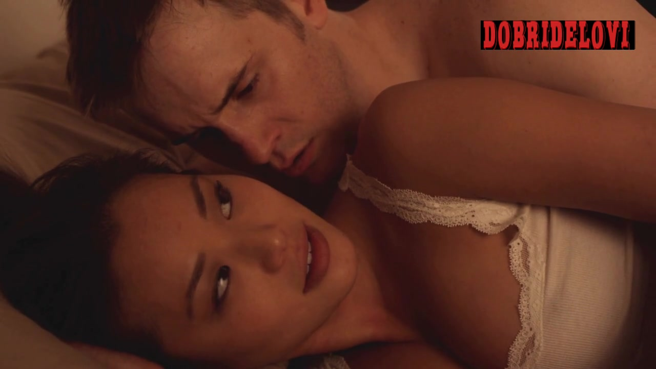 Jamie Chung missionary in bed scene from Burning Palms
