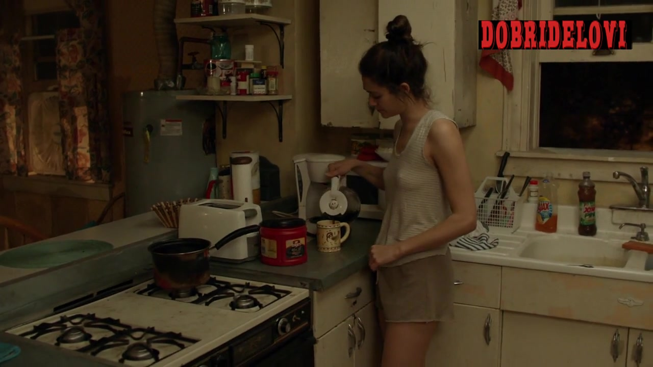 Emmy Rossum see through shirt showing double pokies scene from Shameless